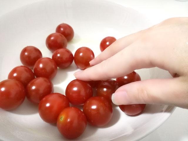 ベジセーフをスプレーしたミニトマト